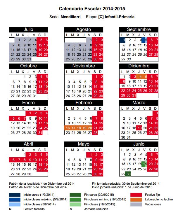 Calenadrio Escolar 2014-15